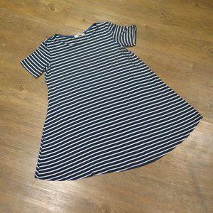 Mini T-shirt Dress blue and white stripes